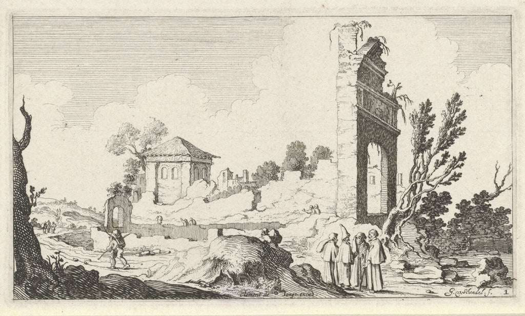 Detail of Collines with a crumbling wall and a gate by Clement de Jonghe