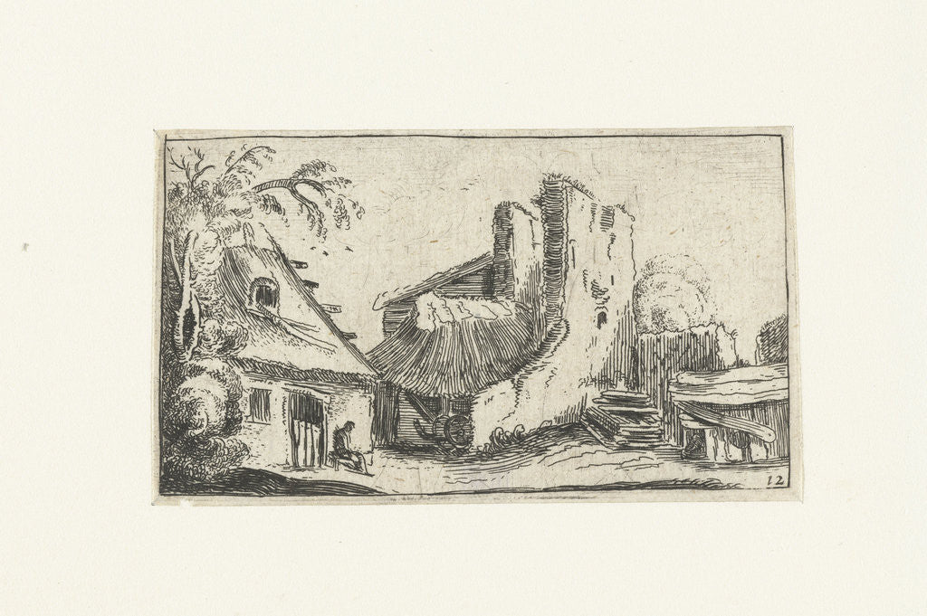 Farmhouse with ruins of a wall by Anonymous