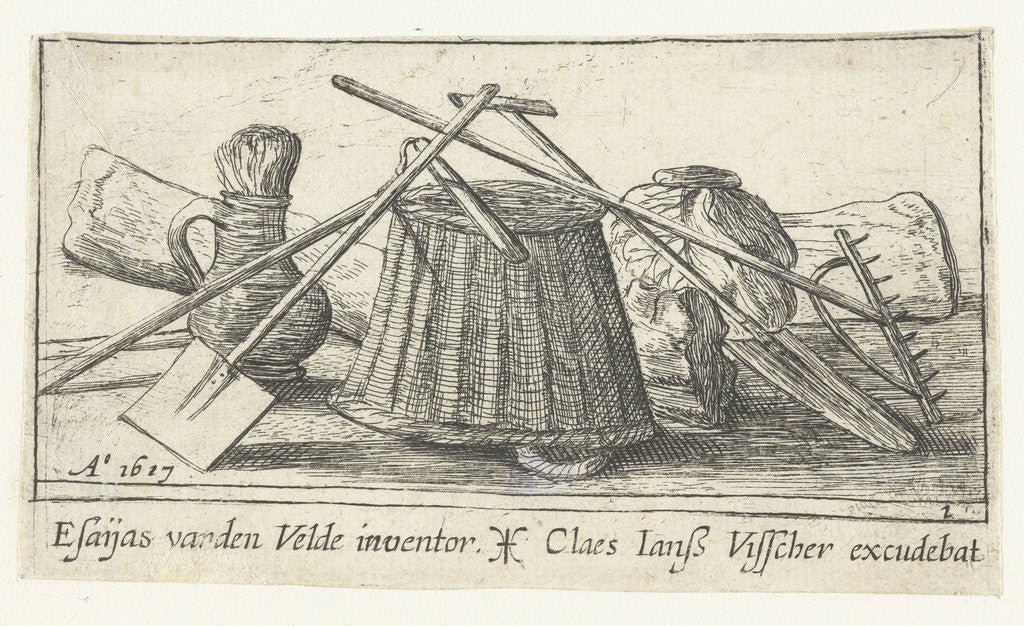 Detail of Engraving with tools for working the land by Claes Jansz. Visscher II