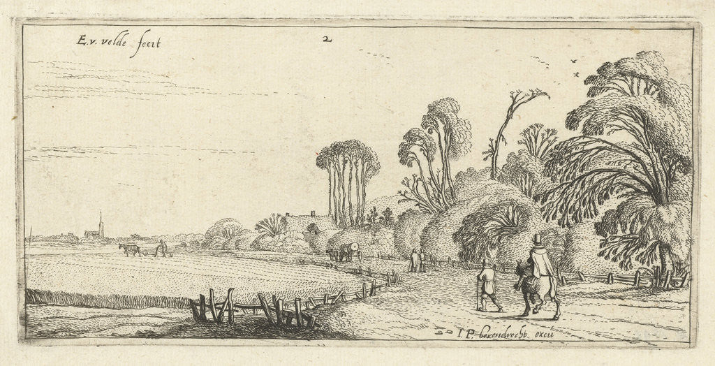 Detail of Hikers on a road at Hillegom by Esaias van de Velde