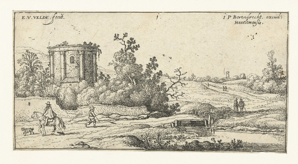 Detail of Landscape with ruins of a Roman temple, Italy by Esaias van de Velde