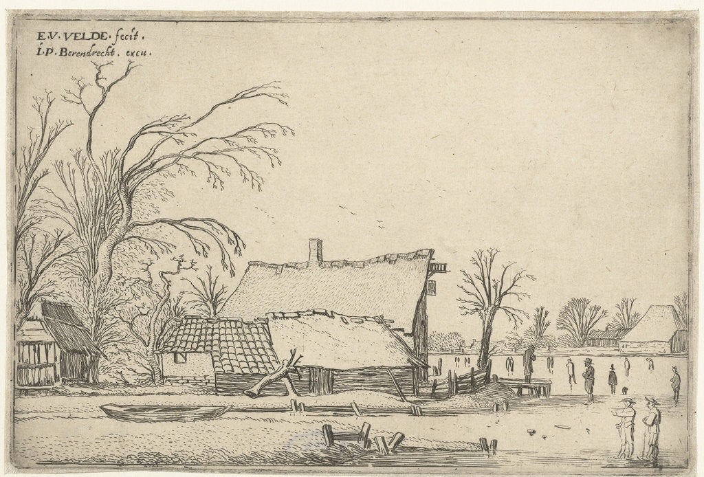 Detail of Farm in frozen river with skaters by Esaias van de Velde