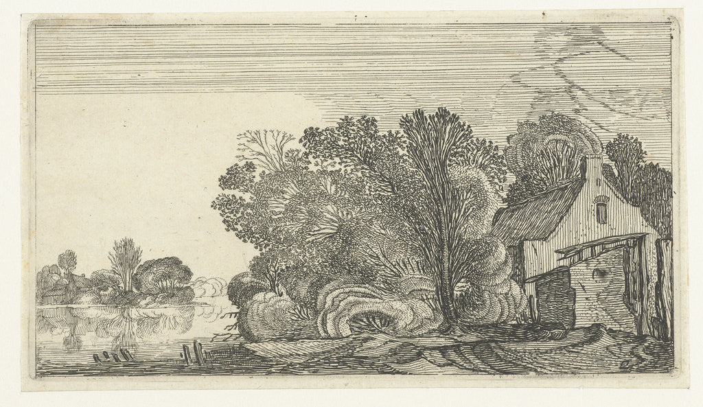 Detail of Farmhouse between trees on a river by Anonymous