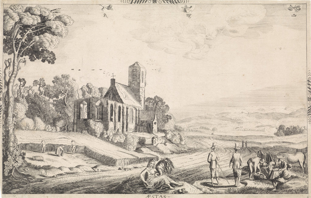 Detail of Landscape with corn harvest by Jan van de Velde II