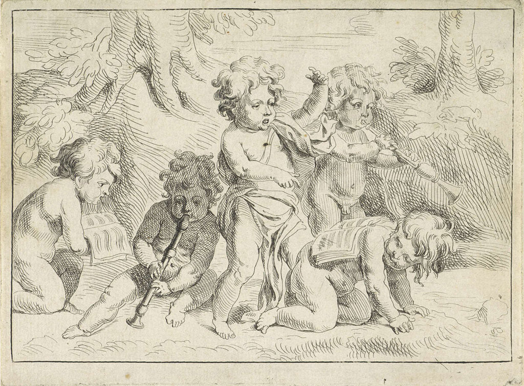 Five children playing music by Michiel Frans van der Voort