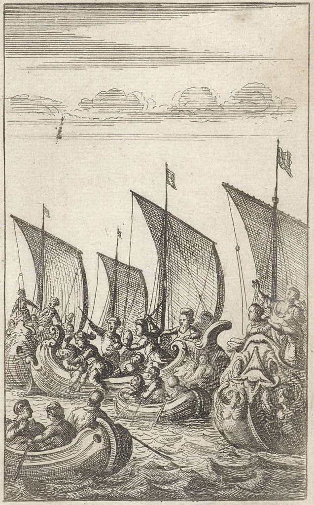 Detail of At sea soldiers fight against each other in galleys and in simple rowboats by Abraham Dircksz Santvoort