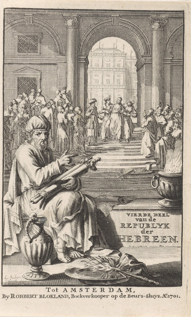 Detail of Jews in a temple by Laurens Scherm