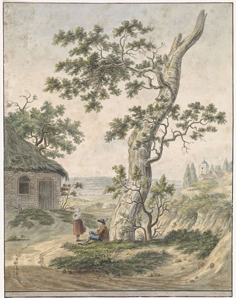 Detail of Landscape with a man and woman at a tree by Johannes Groenewoud Jansz