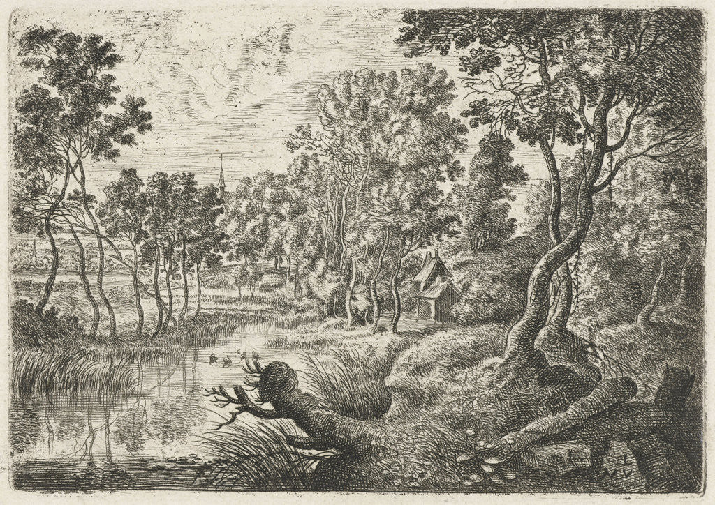 Detail of Landscape with a stream by Lucas van Uden
