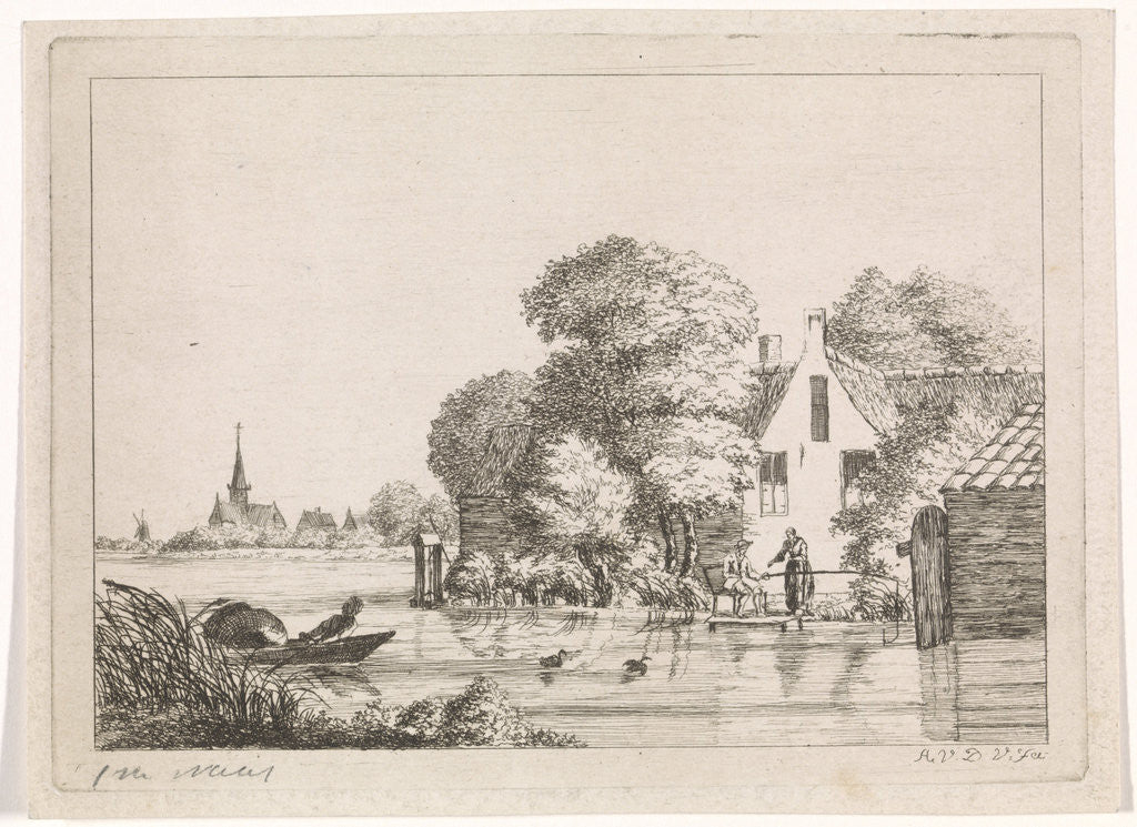 Detail of Angler and a woman before a house by A. van de Velde