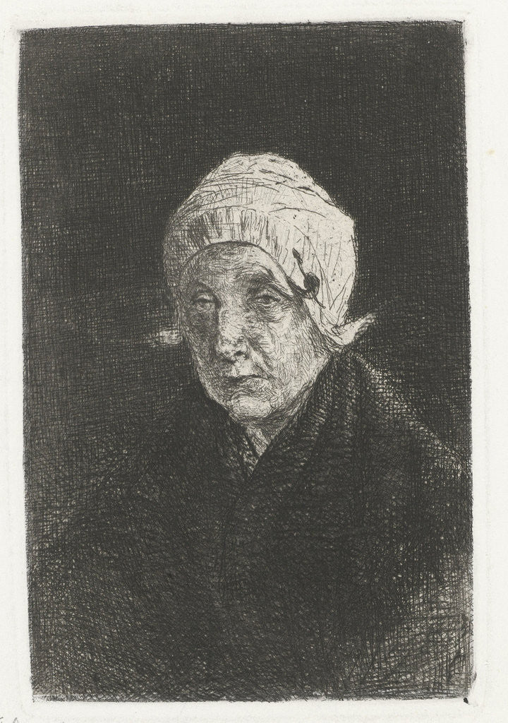 Detail of Katwijk old woman by Jozef Israëls