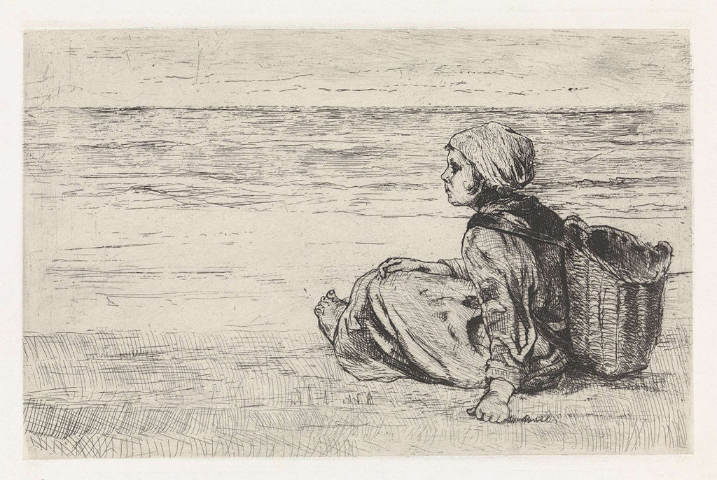 Detail of Girl at the seaside by Jozef Israëls
