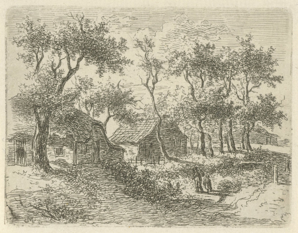 Detail of Farms among the trees by Gerrit Jan Michaelis