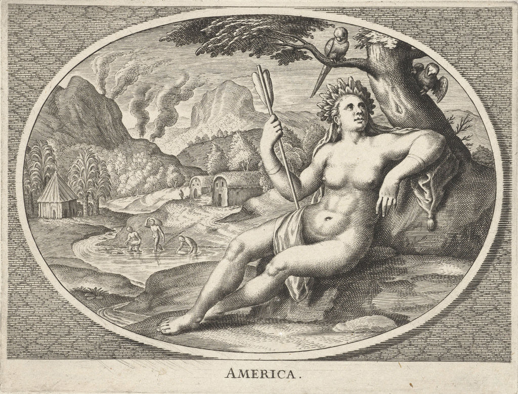 Detail of female personification of America continent as a woman with headdress of feathers and arrow in landscape by Cornelis van Dalen II