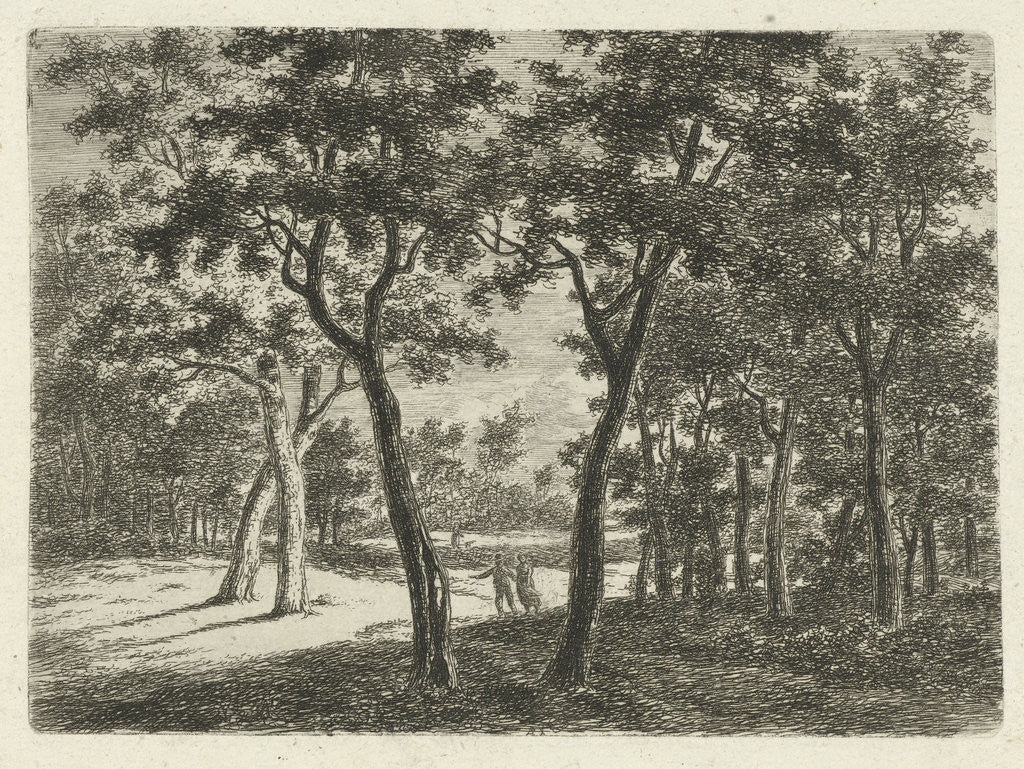 Detail of Wooded Landscape with Two Children by Ernst Willem Jan Bagelaar