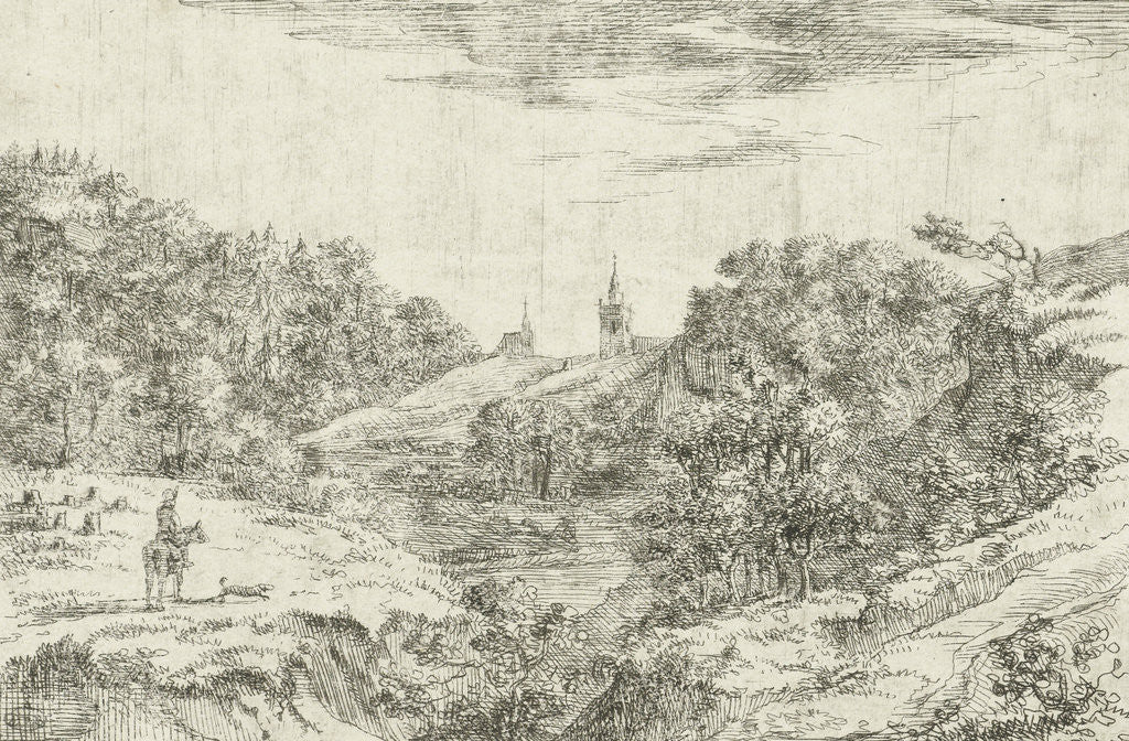 Detail of Dunes with churches and horseman at Scheveningen by Dirk Vis Blokhuyzen