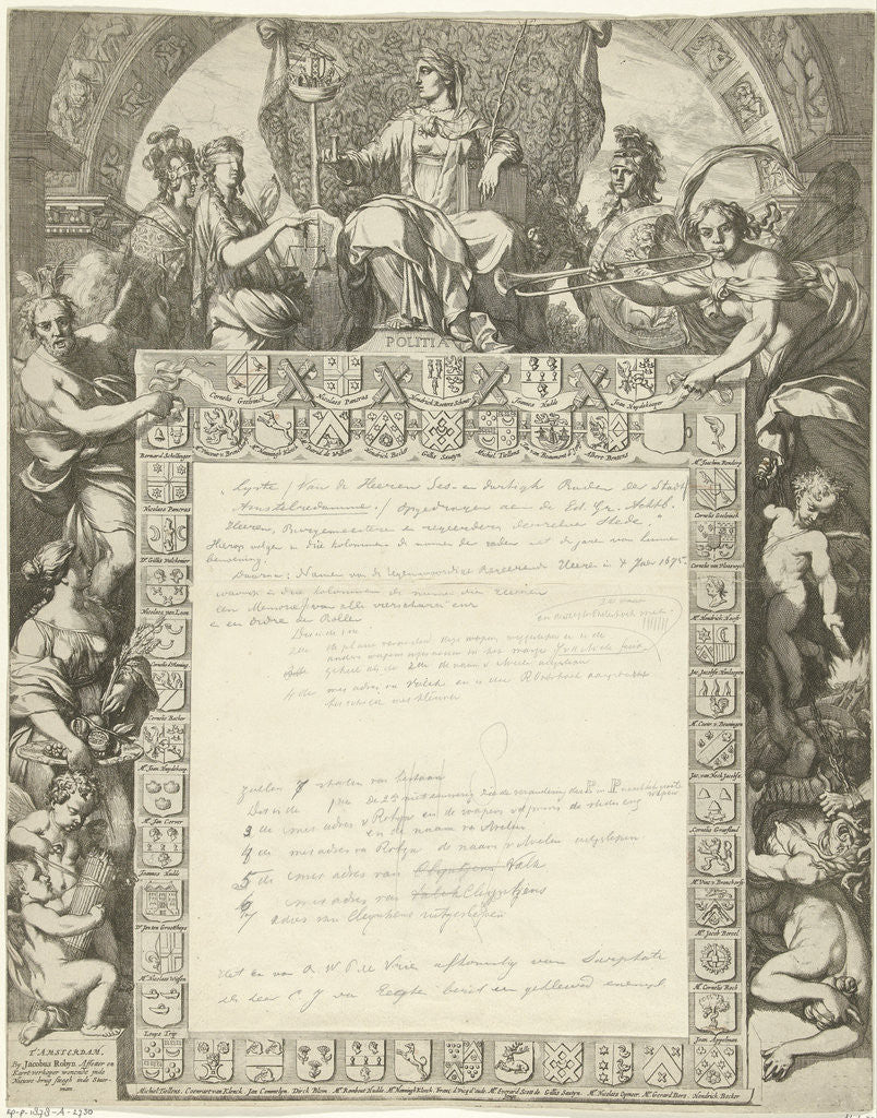 Allegory of the board of the city of Amsterdam with arms of government members by Jacobus Robijn
