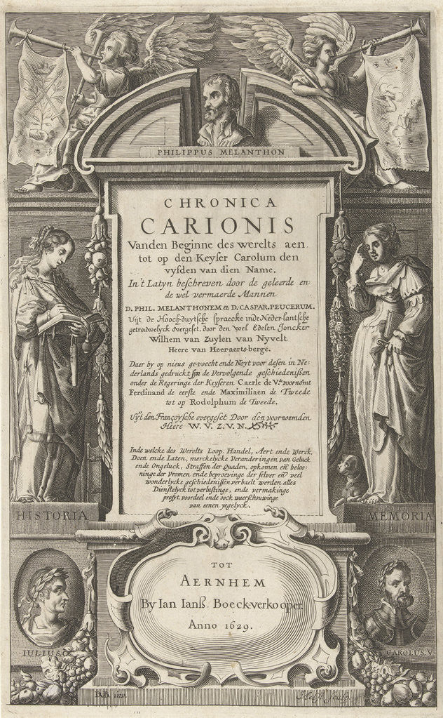 Detail of Title Page For Chronica Carionis P. Melanchthon, Isaeck van Aelst by Jan Jansz