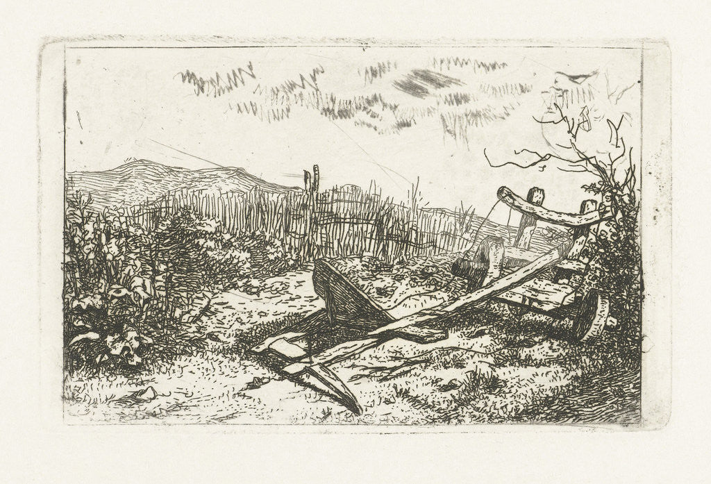 Detail of plow at a fence by Albertus Brondgeest