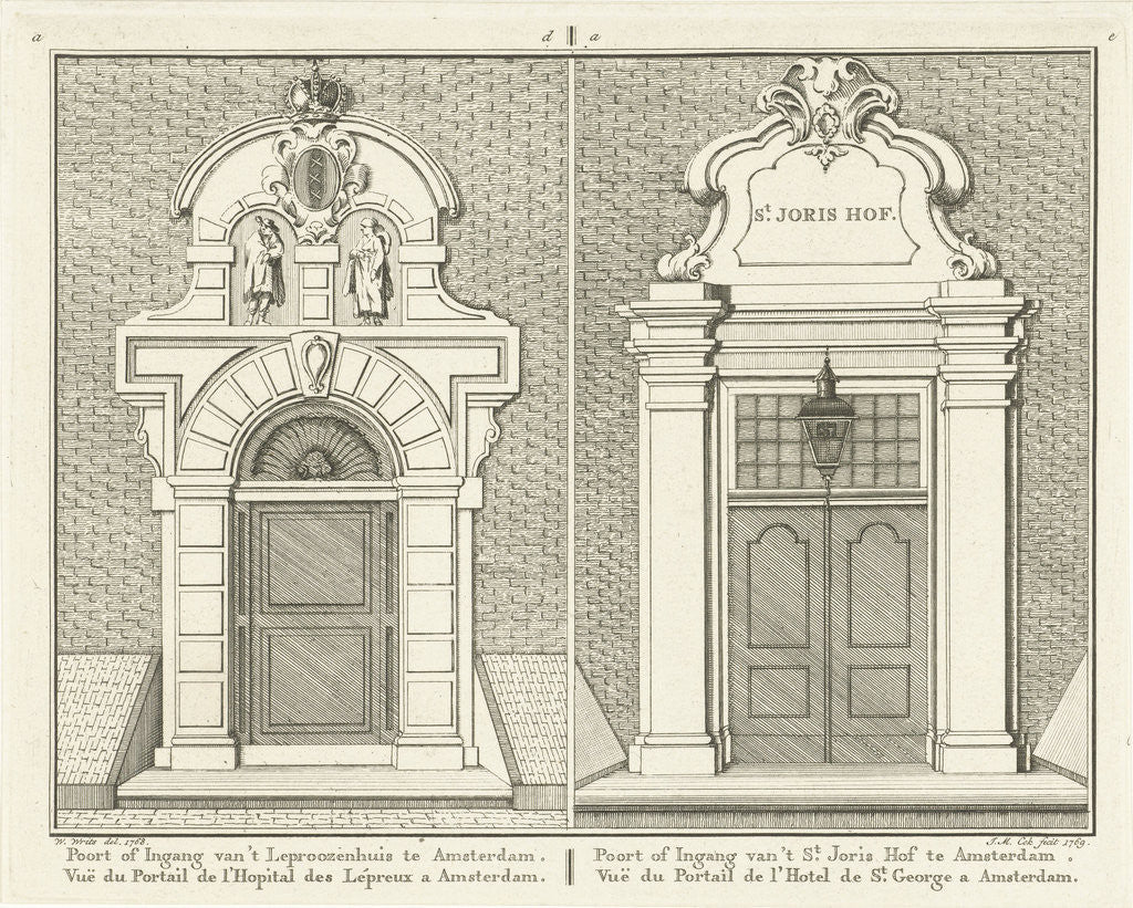 Detail of Gate of the leper house and the St. Jorishof Amsterdam by Jan Matthias Cok