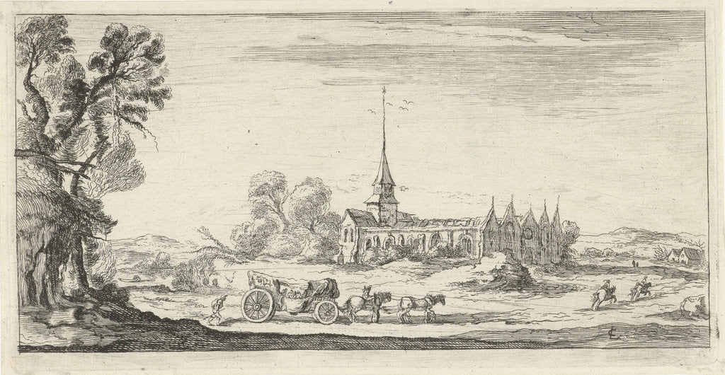 Detail of Landscape with monastery by Lievin Cruyl