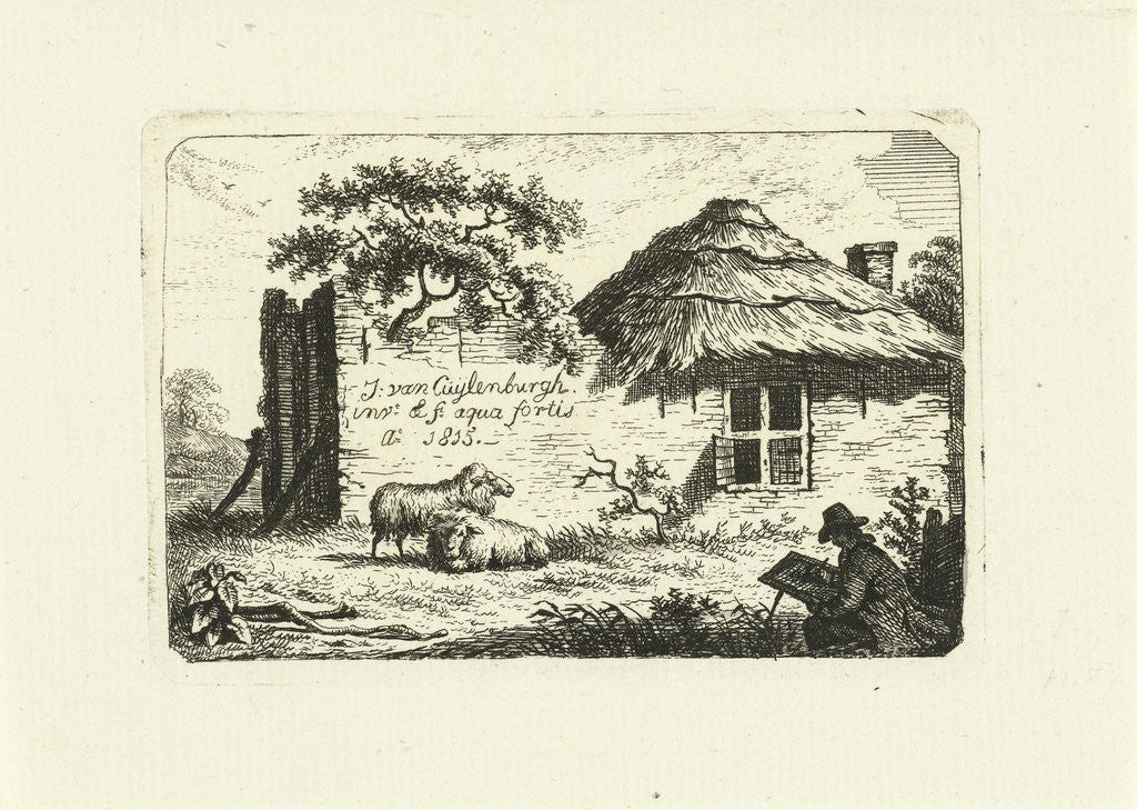 Artist at rundown farmhouse with two sheep by Johannes van Cuylenburgh