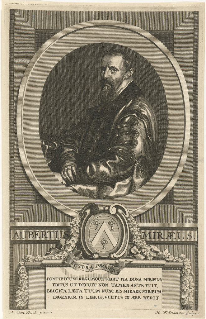 Portrait of Aubertus Miraenus by Hendrik Frans Diamaer