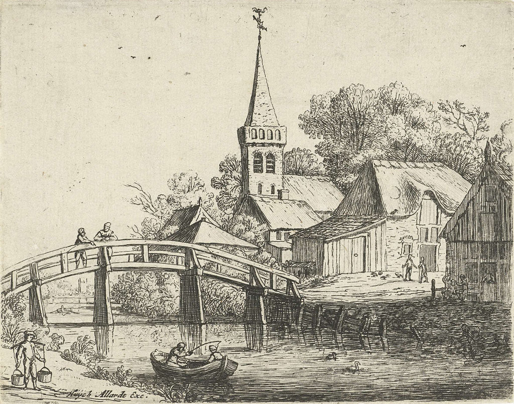 Detail of Landscape with wooden bridge by Hugo Allard