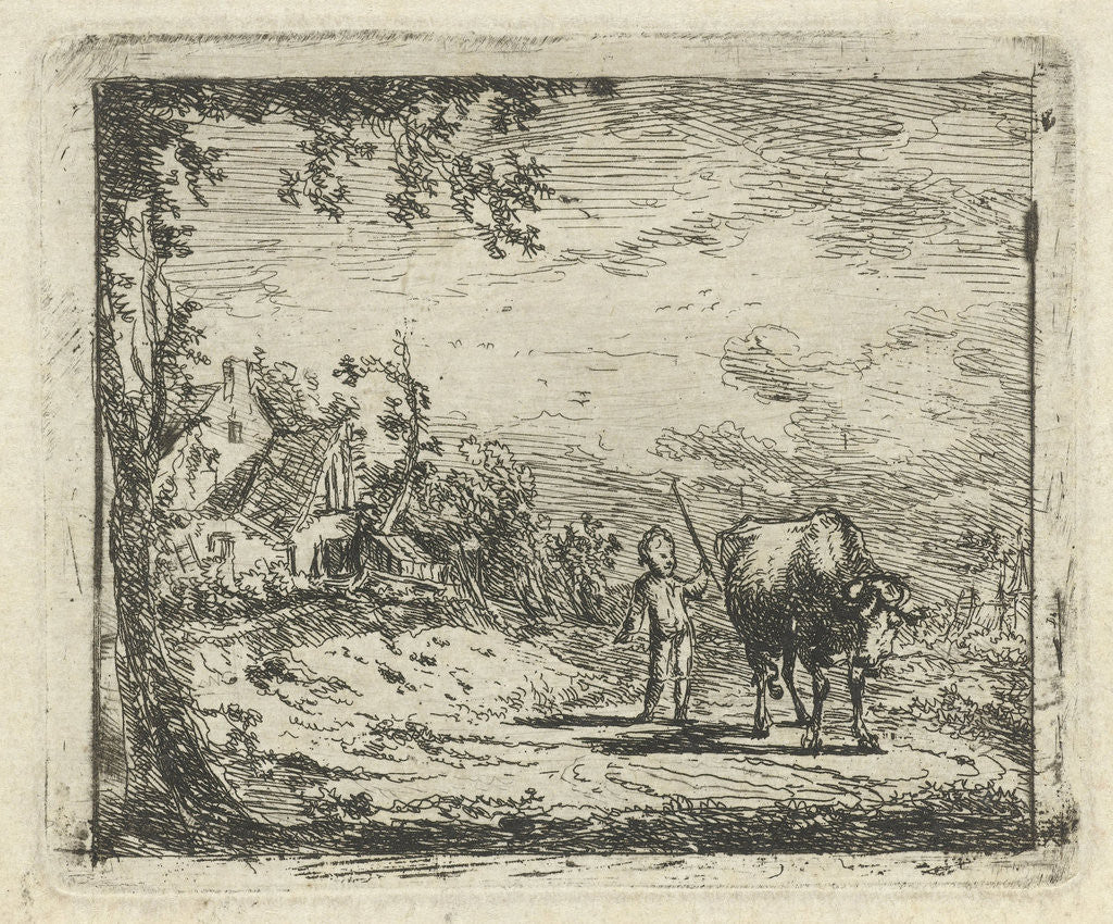 Detail of Landscape with putto and cow by Geerlig Grijpmoed