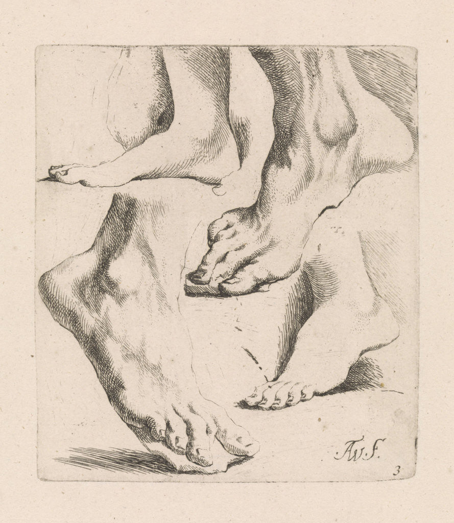 Detail of Four studies of feet by Augustinus Terwesten I