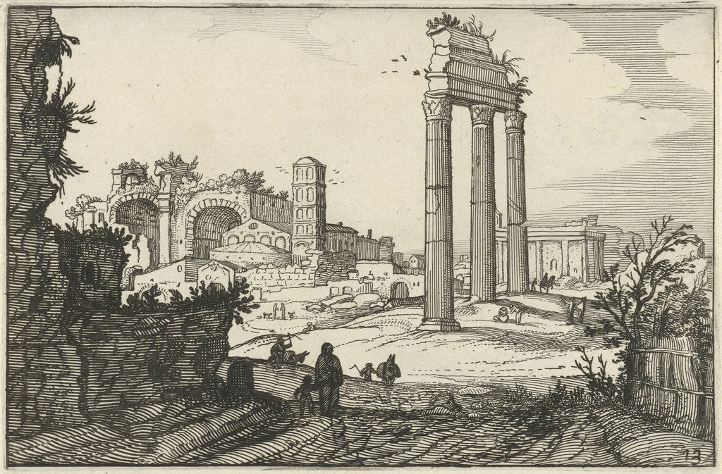 Detail of Temple of Castor and Pollux and the Basilica of Constantine by Claes Jansz. Visscher II