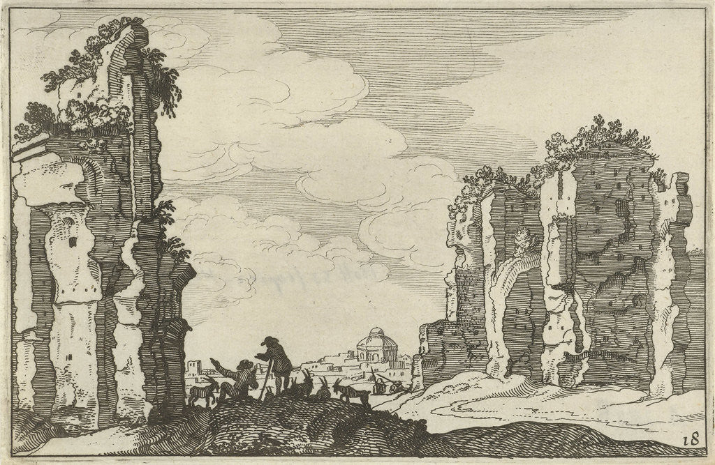 Detail of Ruins of the Baths of Caracalla, Rome, Italy by Claes Jansz. Visscher II