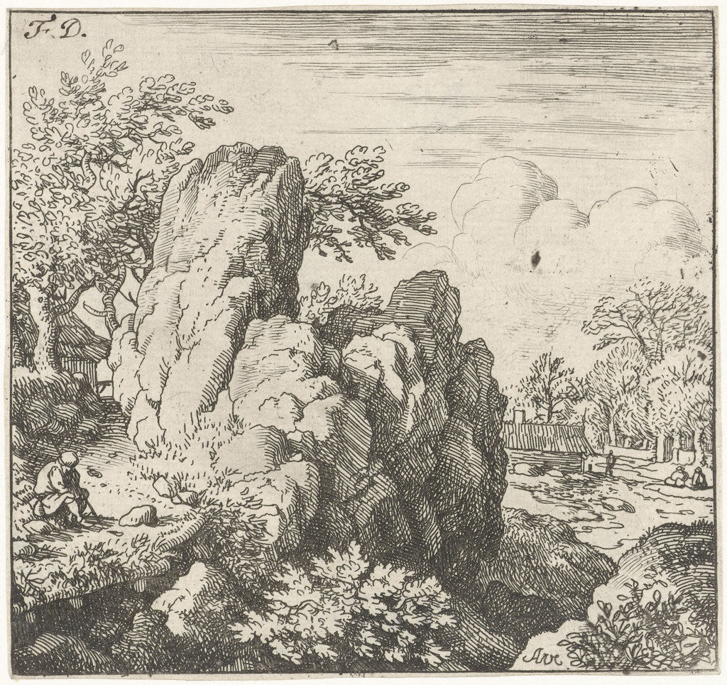 Detail of Landscape with large rock by Allaert van Everdingen