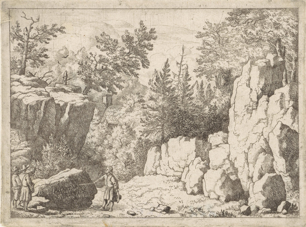 Detail of Landscape with man and pointer by Allaert van Everdingen