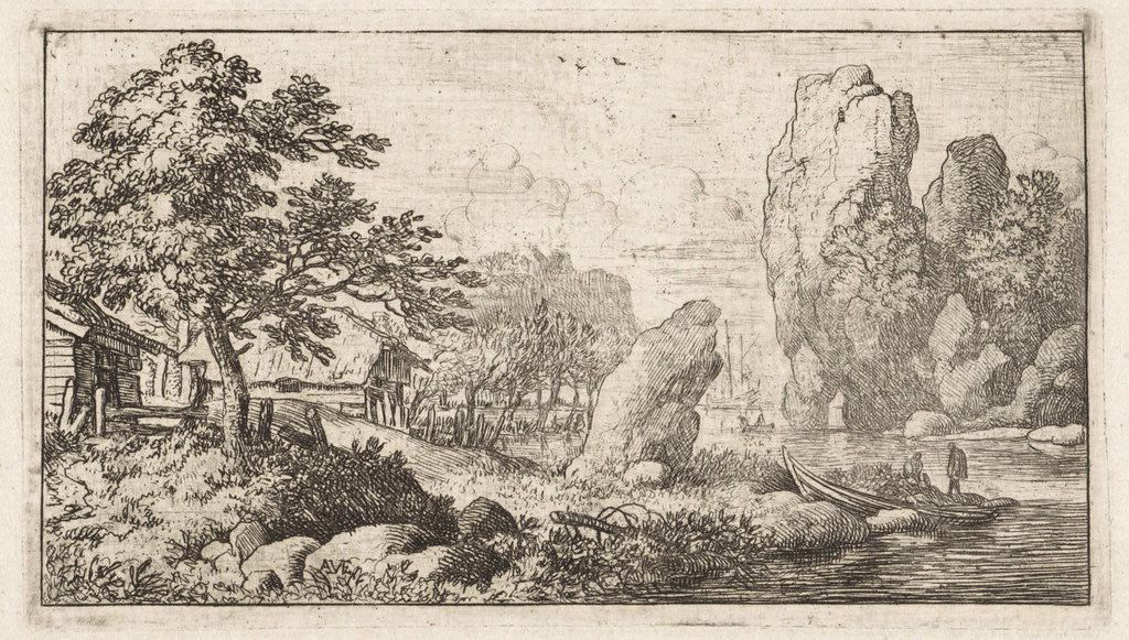 Detail of Landscape with rock by the water by Allaert van Everdingen