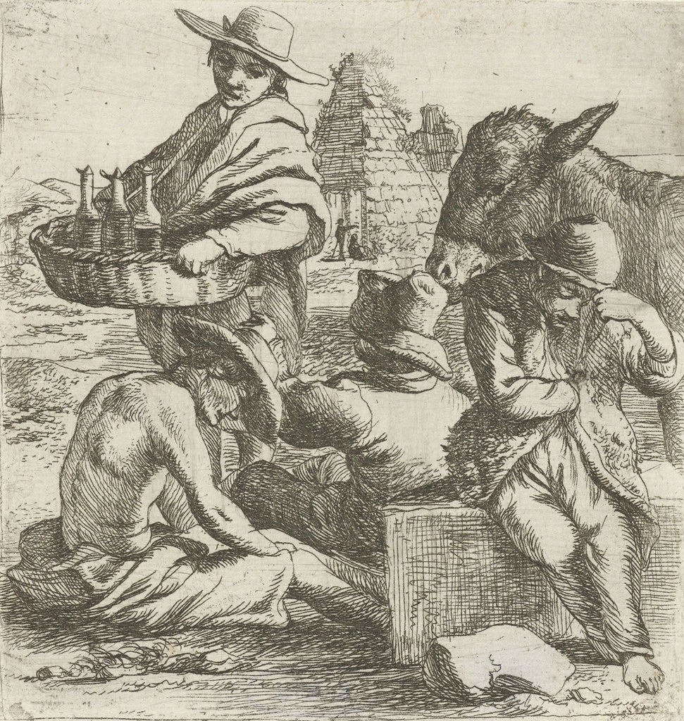 Detail of Gin seller and the three beggars by Jan van Ossenbeeck