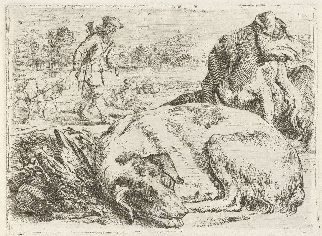 Detail of Hunter with his dogs by Jan van Ossenbeeck