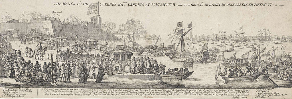 Detail of Arrival of Queen Catherine of Braganza in Portsmouth by James Butler