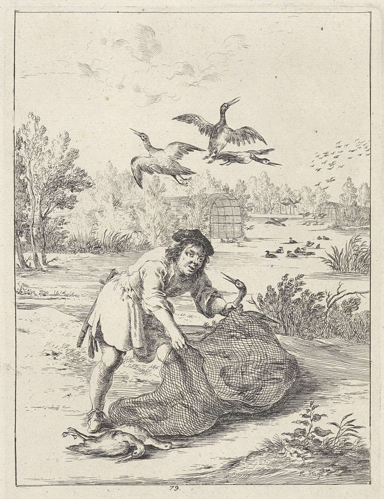 Detail of Fable of the farmer and the stork by John Ogilby