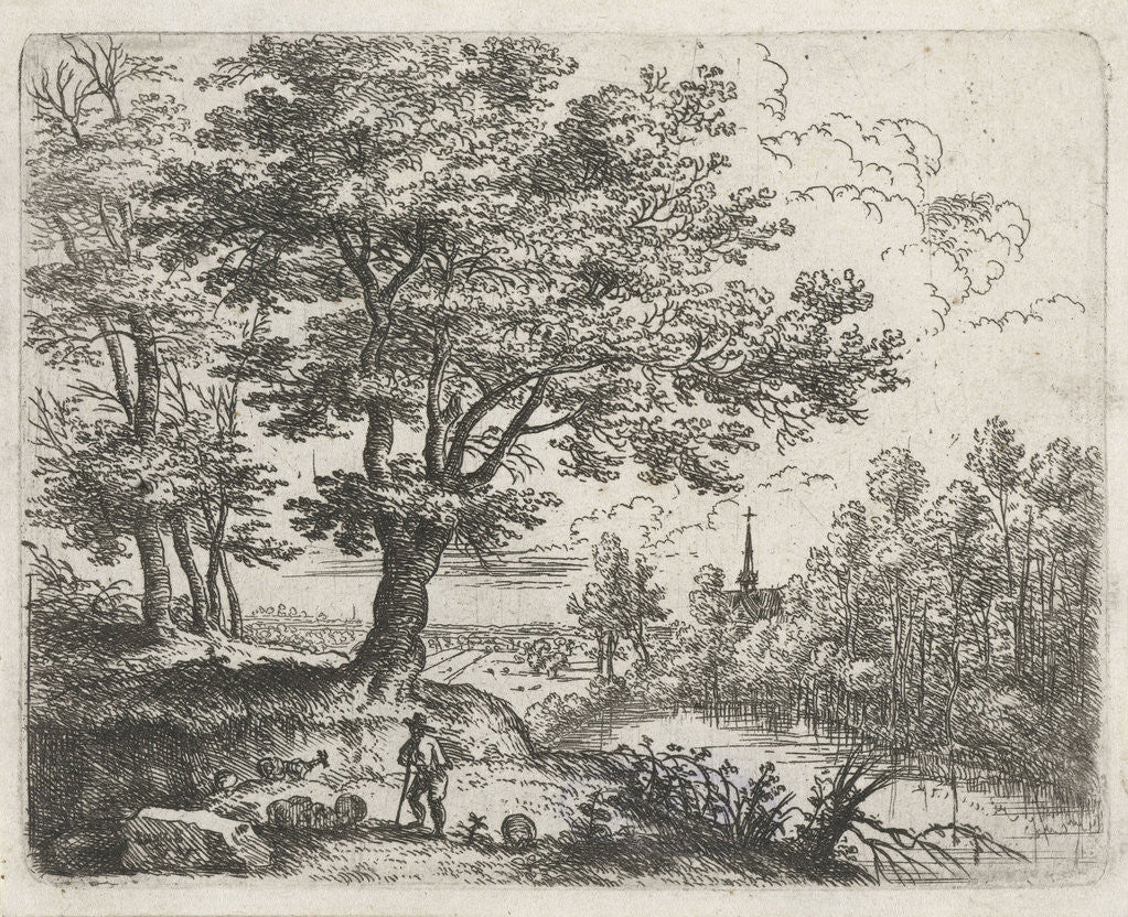 Detail of Landscape with a shepherd and in the distance a church near the water by Lucas van Uden