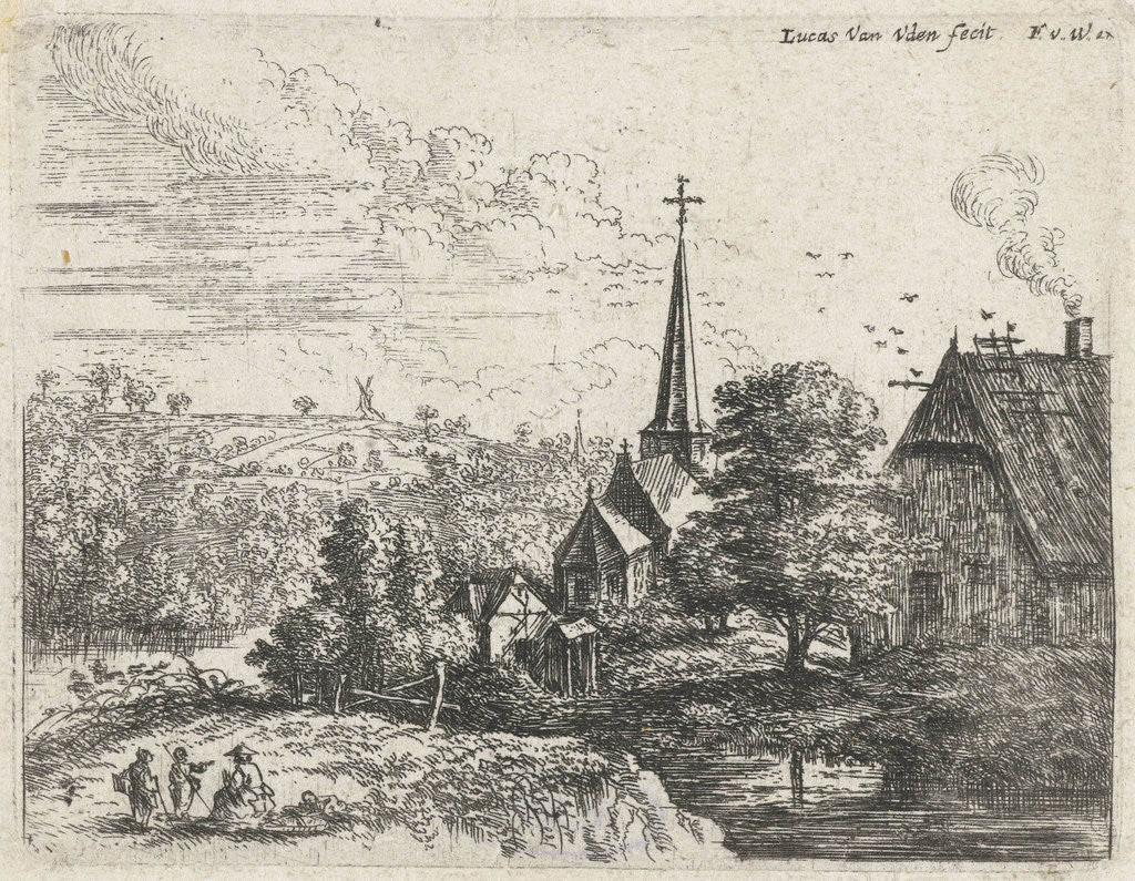 Detail of Landscape with a river running through a small village with a church by Lucas van Uden