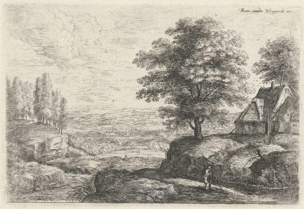 Detail of Landscape with a man with staff walking past a farm with well by Lucas van Uden