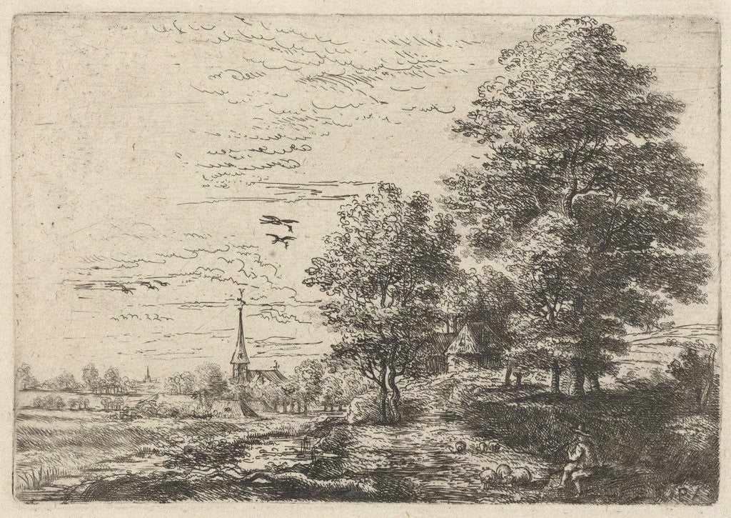 Detail of Landscape with shepherd and sheep by Philips Augustijn Immenraet
