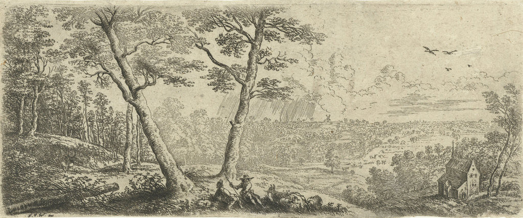 Detail of Landscape with two men conversing by Frans van den Wijngaerde