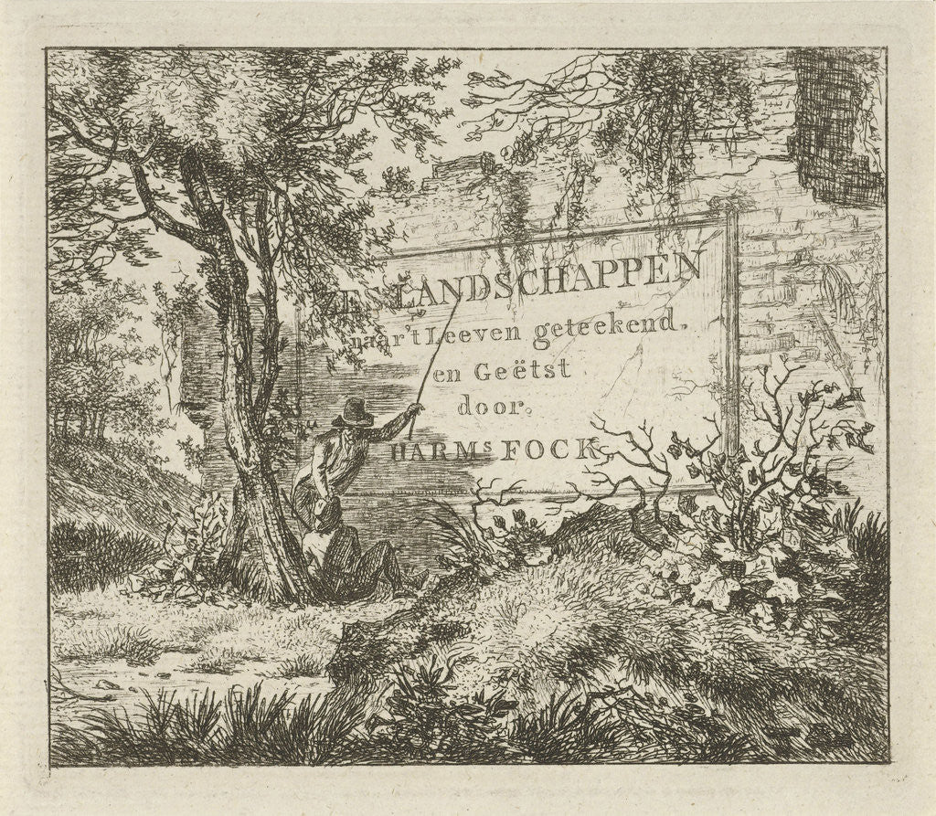 Detail of A man pointing a long stick to the inscription on a wall in a forest, while watching a second man, sitting against a tree by Hermanus Fock