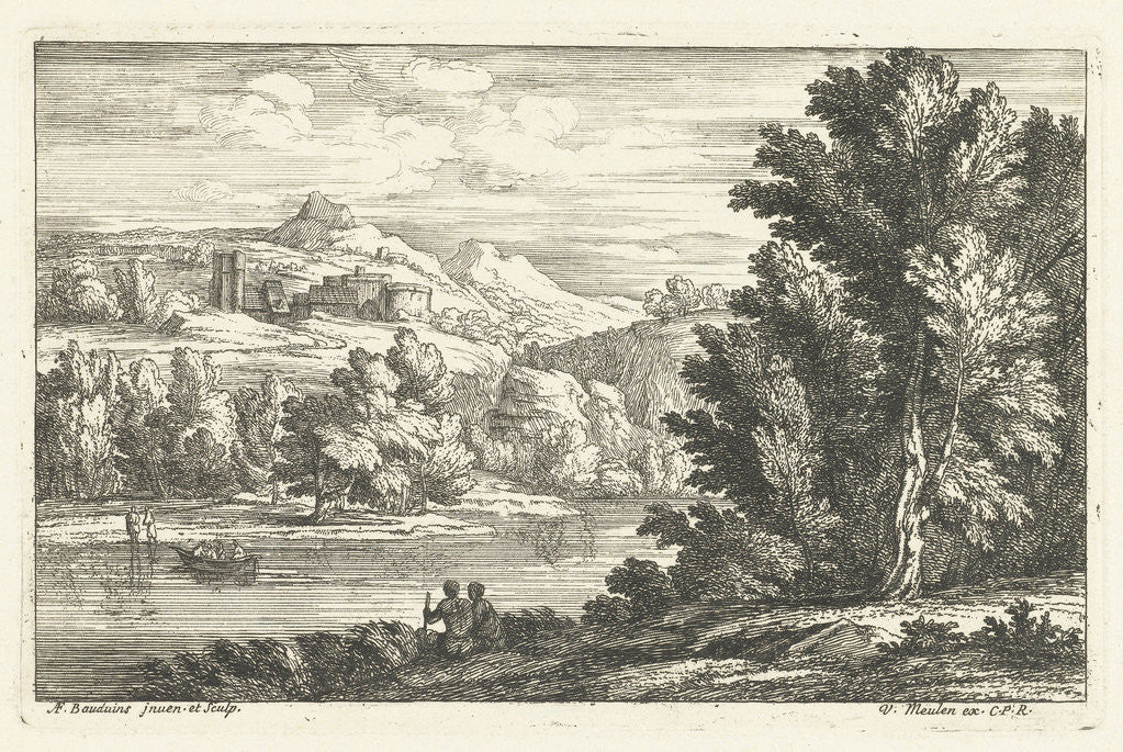 Detail of Landscape with a River and a fortress by Louis XIV King of France