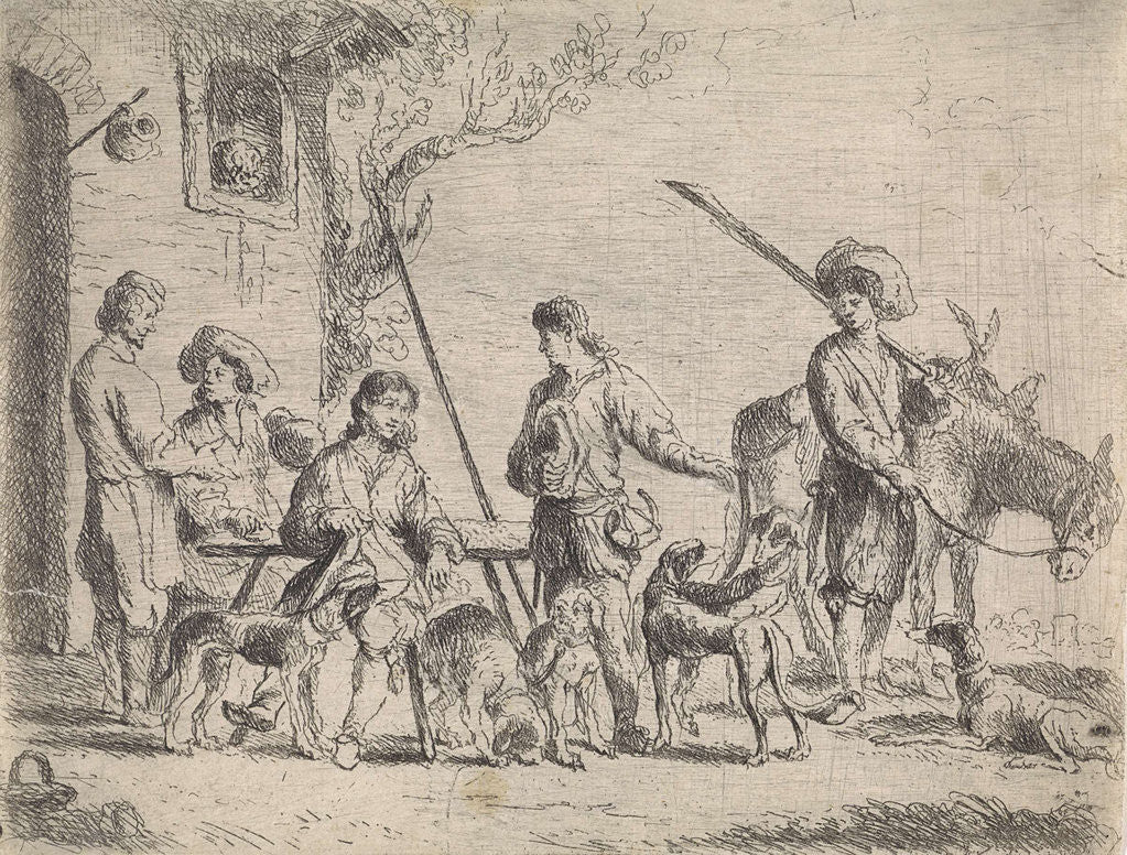 Detail of Hunters for an inn by Cornelis de Wael