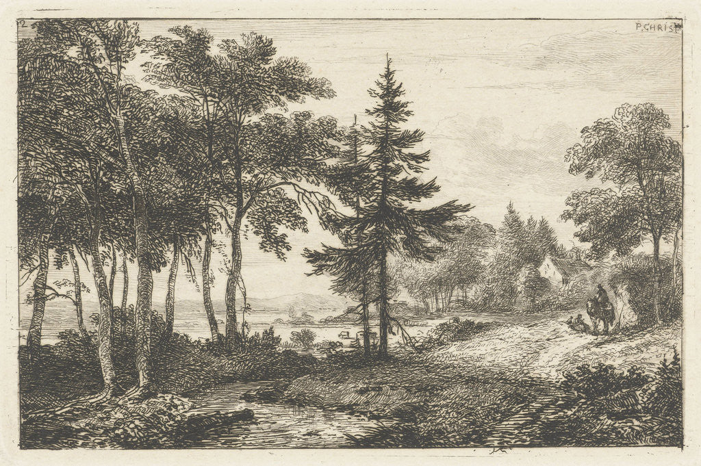 Detail of Landscape with fir tree and horsema by Pieter Casper Christ