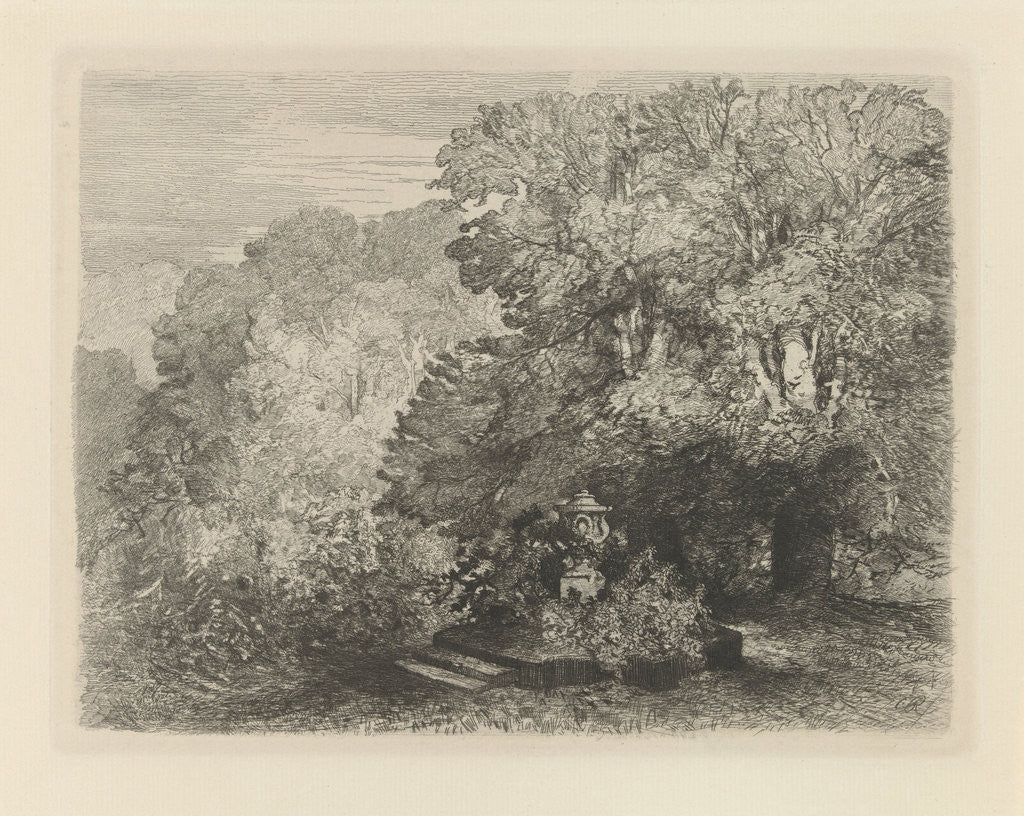 A vase surrounded by bushes, right two large trees by Charles Rochussen