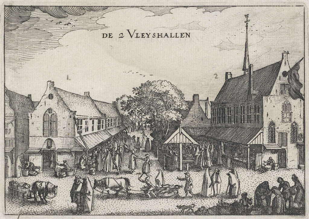 Detail of Large and small meat market in Amsterdam by Claes Jansz. Visscher II